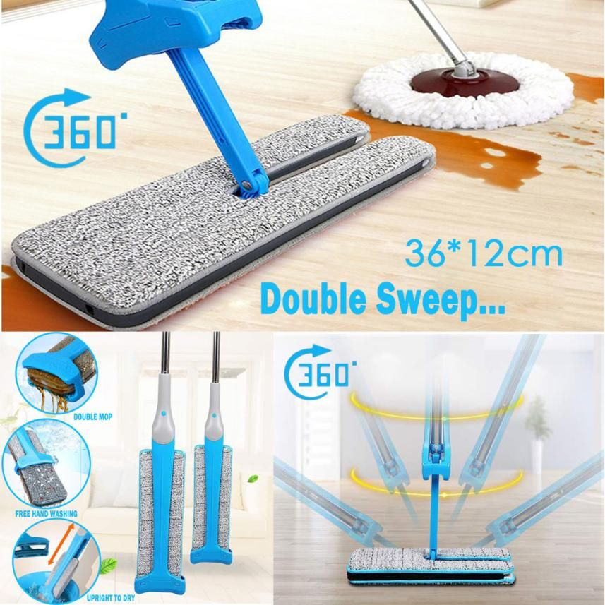 Double Sided Non Hand Washing Flat Mop Wooden Floor Mop Dust Push Mop Home Cleaning Tools 10.9