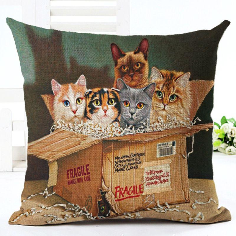 Retro Vintage Schöne Schöne Katzen Kissen Fall Für 'Kissenbezüge Abdeckung Baumwolle Leinen Werfen Platz Kissen Kissenbezüge