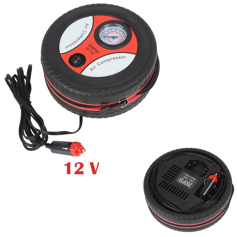 Дешевый надувные Portable12V Шин Надувное Насоса Воздушный Компрессор Авто Насос 260PSI 3 х Сопла Адаптер Высокое Качество