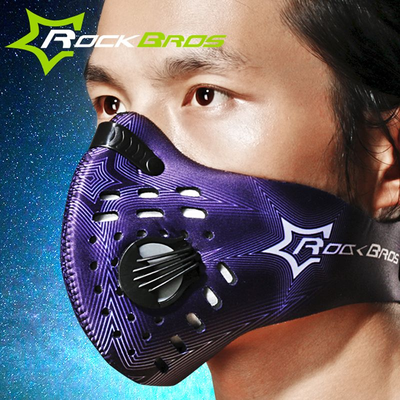 RockBros Radfahren Maske/Training Maske Aktivkohle Anti-fog Anti-Staub MTB Fahrrad Lauf Ski Maske Halb Gesichtsmaske & Filter