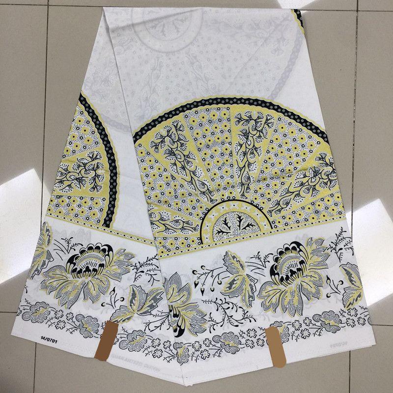 TN!White Flower Pattern Fashion Ankara Design Block Printed Veritable Mosaic Gold African Wax Hollandais for Nigerian ! J42168