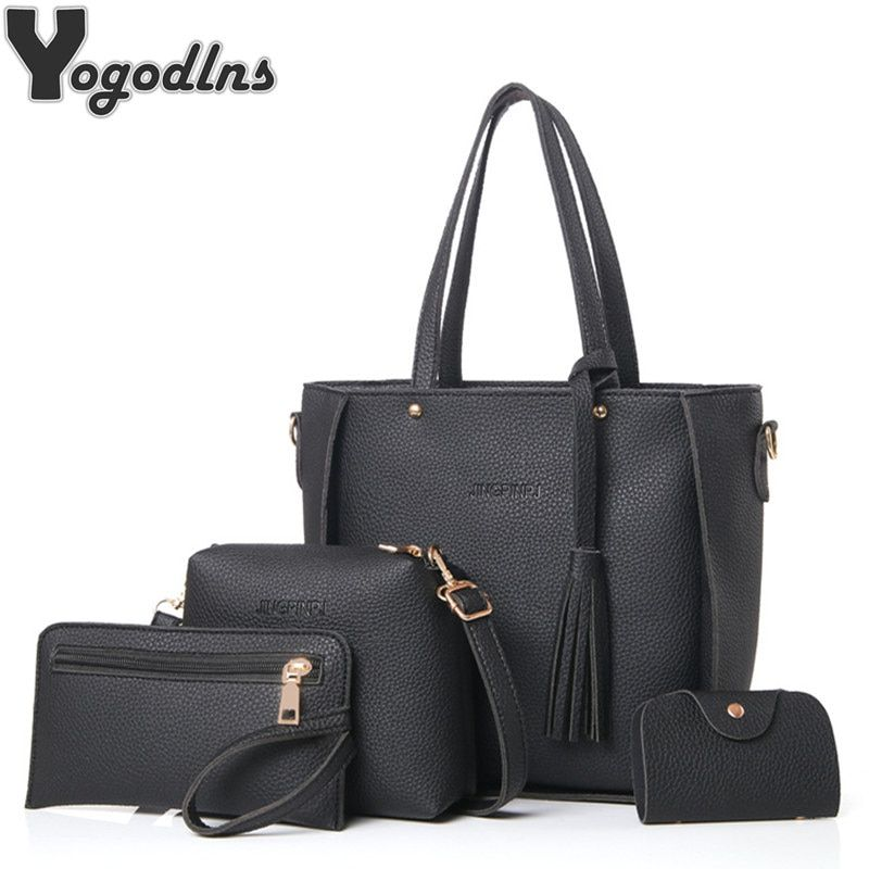 Women Bag Set Top-Handle Big Capacity Female Tassel Handbag Fashion Shoulder Bag Purse Ladies PU Leather Crossbody Bag