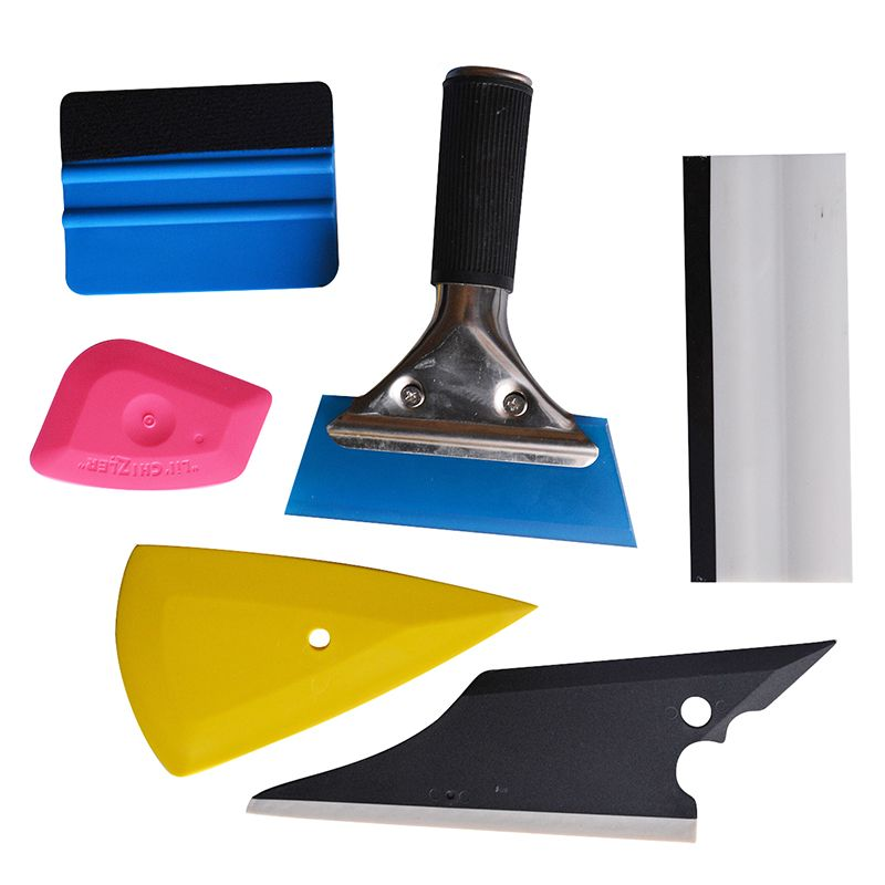 EHDIS 6Pcs Vinyl Car Film Wrap Tool Kit Vinyl Tinting Tools Rubber Squeegee 3D <font><b>Carbon</b></font> Fiber Glass Window Tint Tool Scrapers TK06