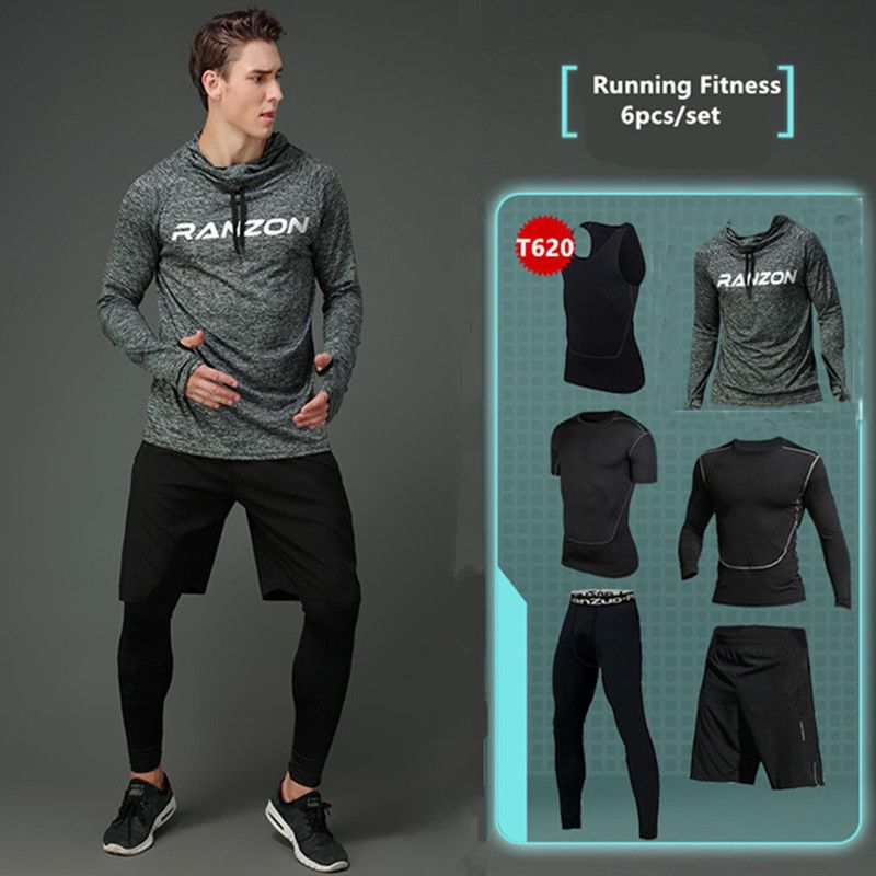 2017 New Compression Men's Sport Suits Quick Dry Running sets Clothes Sports Joggers Training Gym Fitness Tracksuits Running Set