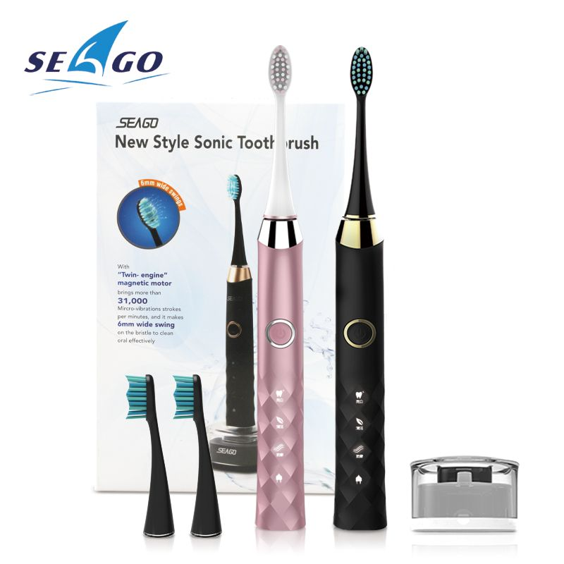 SEAGO Toothbrush Electric Rechargeable USB For Adult Tooth Brush 3 Modes Clean Teeth with 5 Brush Head Whiten SG987 Best Gift
