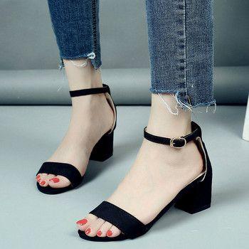 2018 Été Femmes Sandales À Bout Ouvert Flip Flops Femmes Sandales de Talon Épais Femmes Chaussures Coréenne Style Gladiateur Chaussures 1216 W