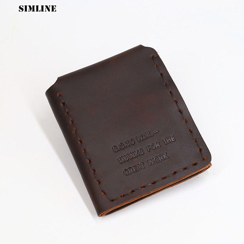 Portefeuille homme en cuir véritable SIMLINE Vintage fait à la main en peau de vache de cheval fou la vie secrète de Walter Mitty portefeuille court homme sac à main