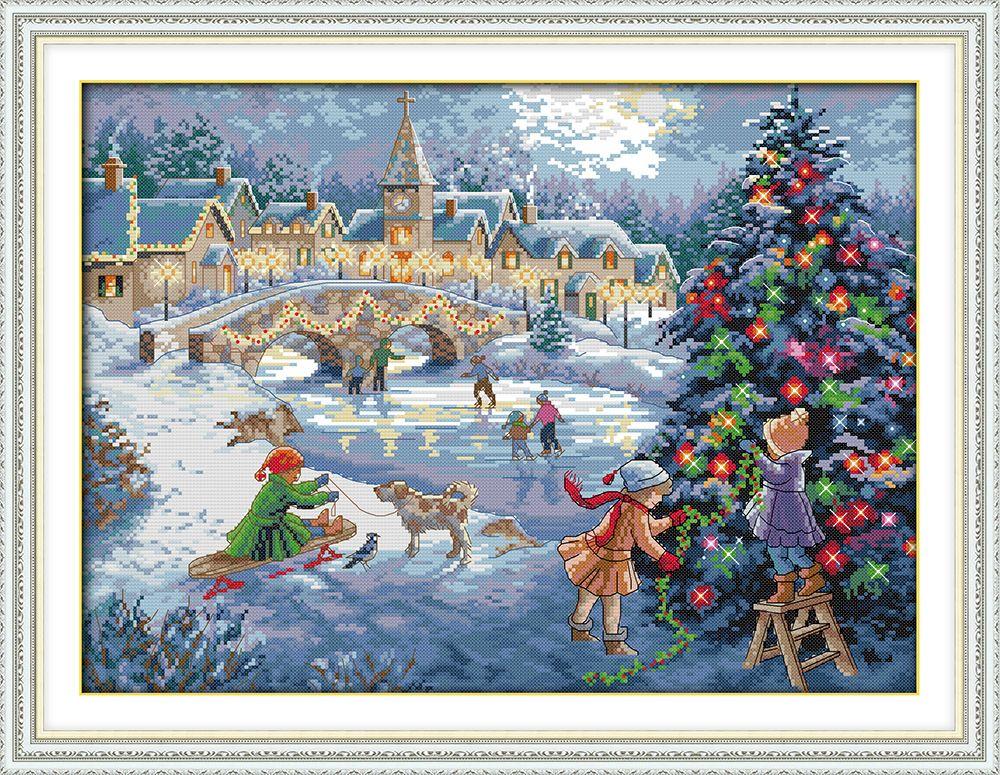 Une célébration dans la neige De Noël Imprimé Toile DMC point de Croix Compté Kits imprimé Croix-point de Broderie Couture définir