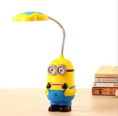 Nuevos Niños Bebés Niñas Despicable Me Flexible Lámpara de Mesa/Niños Lindo Minions Mini Plegable Lámparas/Niños LED Eyeshield Luz de la noche