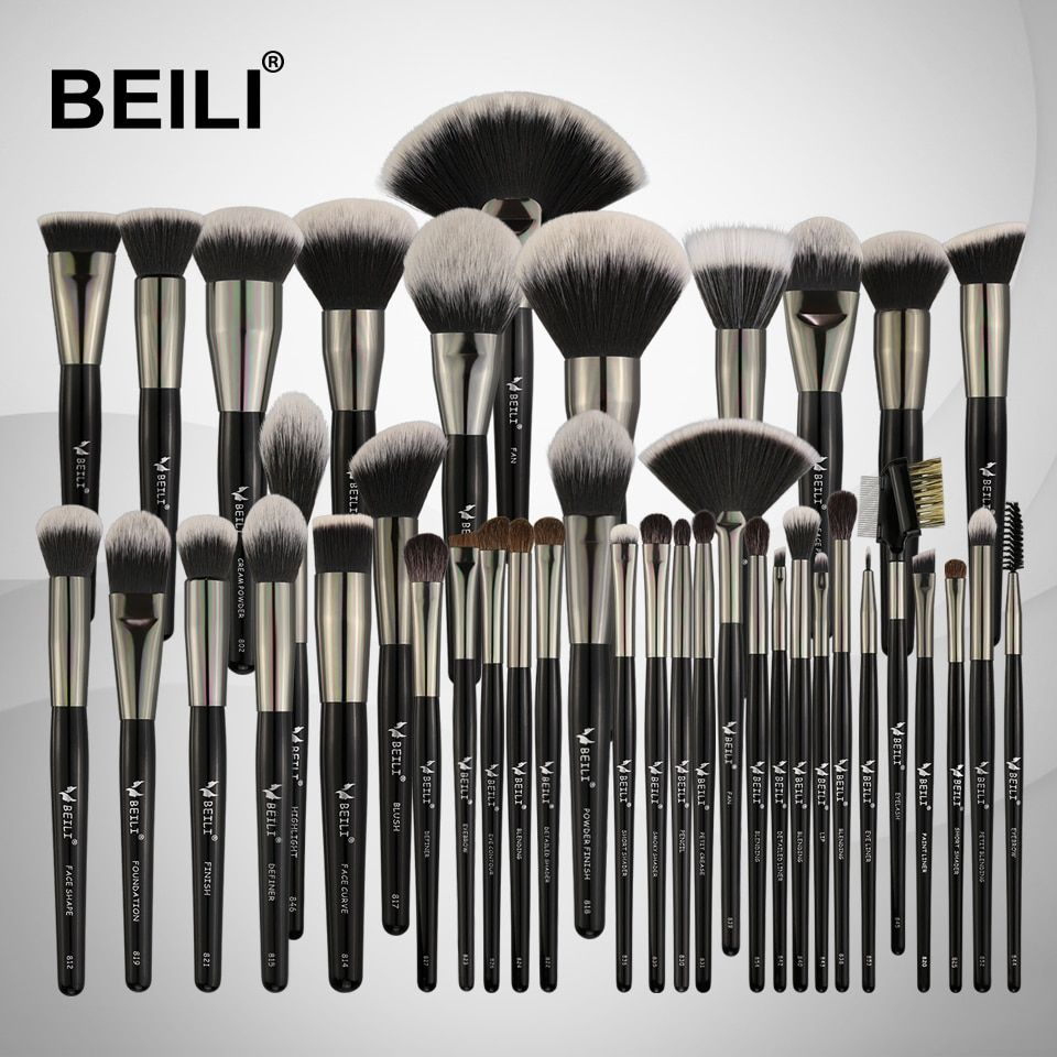BEILI Black Professional 40PCS Makeup Brushes Set Soft Natural bristles powder Blending Eyebrow Fan Concealer Foundation