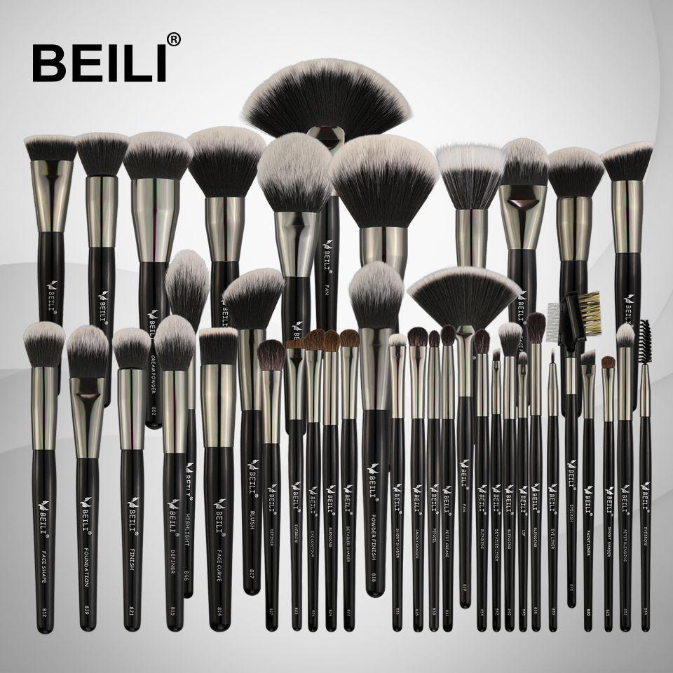 BEILI Professional 40PCS Makeup Brushes Set Soft Natural bristles powder Blending Eyebrow Fan Concealer Foundation