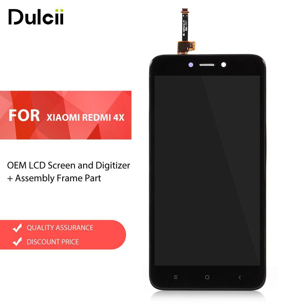Dulcii Für Xiaomi Redmi 4X OEM Lcd-bildschirm und Digitizer + montage Rahmen Teil Für Xiomi Redmi 4X LCD Touchscreen LCDs schwarz