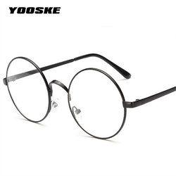 YOOSKE redondo mujeres gafas marcos con lente transparente hombres espectáculo óptico marco gafas transparentes para Harry Potter