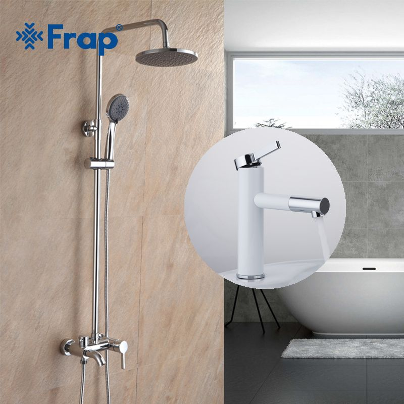 Frap Bathroom Rainfall Shower Faucet Set Mixer Tap With High White Spray Painting Basin Taps 360 Free Rotating F2416+F1052-14