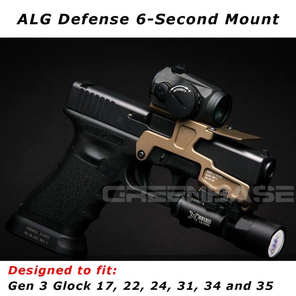 Tactical ALG Defense 6-Second Mount Optics Scope Mount RMR For Pistol Gen3 Glock 17 18C 22 24 31 34 35 Handguns With Magwell