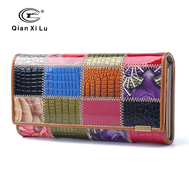 2017 New Fashion Patent Leather Women Wallet Female Hasp Purse Long Coin Purses Ladies Plaid Wallet Cowhide box gift