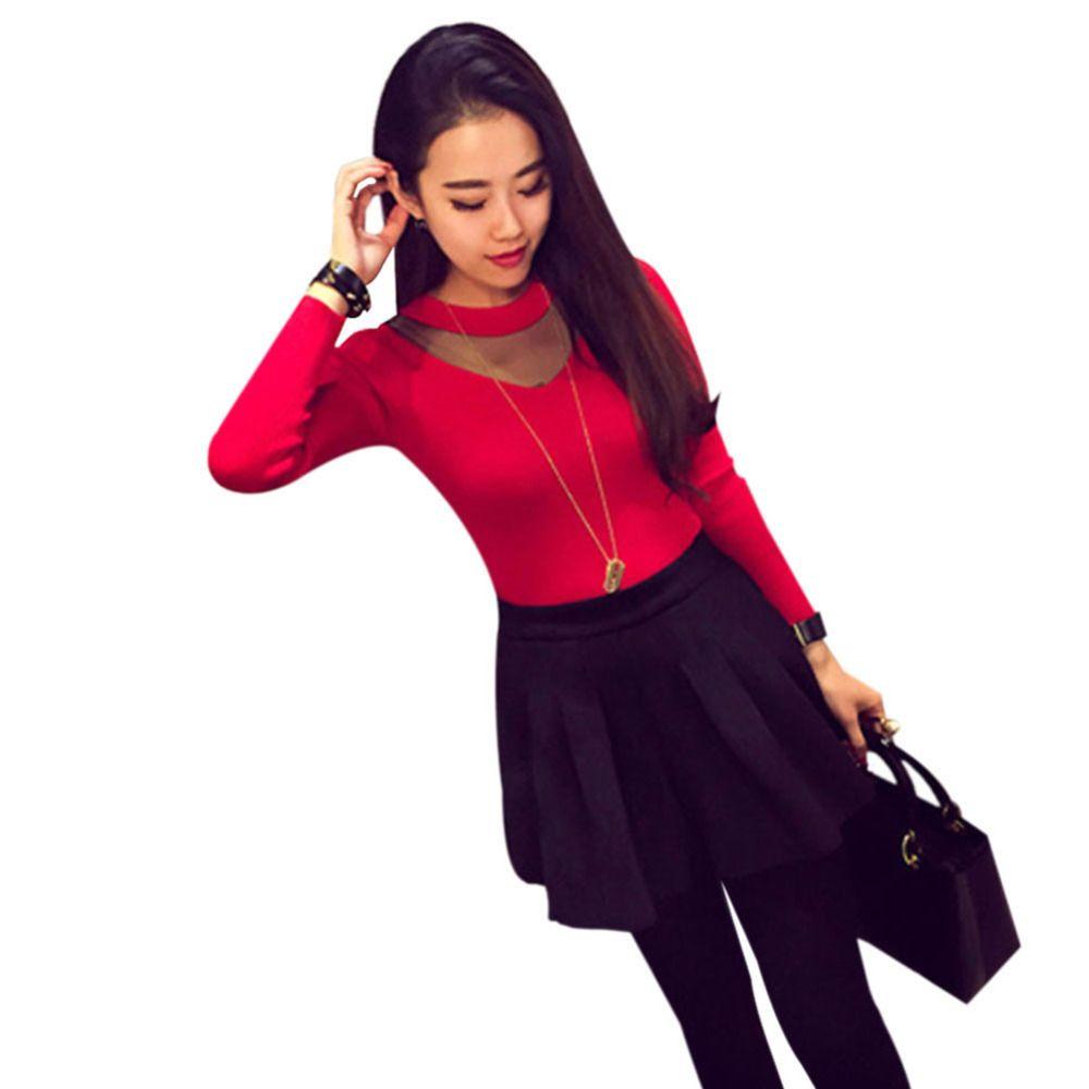 Новый Для женщин пикантные сетчатые Sheer Сращивание с длинным рукавом тонкий трикотаж Рубашки для мальчиков блузка