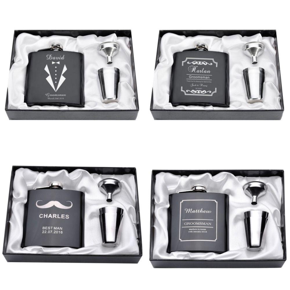 Personnalisé gravé 6 oz hanche flacon ensemble en acier inoxydable entonnoir cadeau boîte + 2 tasses mariée marié meilleur homme Usher mariage décor faveur