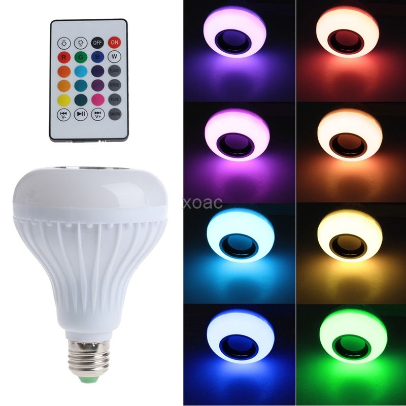 Drahtlose Bluetooth Lautsprecher Birne E27 LED RGB Licht Musik Spielen Lampe AC 90-265 v 3000-6500 karat m05 dropship