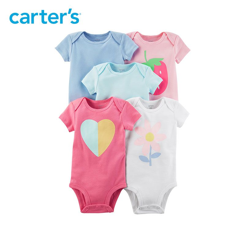 5pcs heart flower strawberry prints Short-Sleeve Cotton Bodysuits clothing sets Carter's baby Girl Summer 126H326
