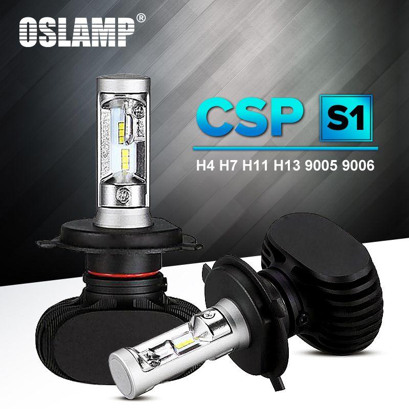 Oslamp Auto Led H7 Headlight H13 9005 HB3 9006 HB4 Led H4 Car Bulb 6500K CSP Chip 50W 8000lm Fan-less H8 H11 Fog <font><b>Lamp</b></font> All-in-one