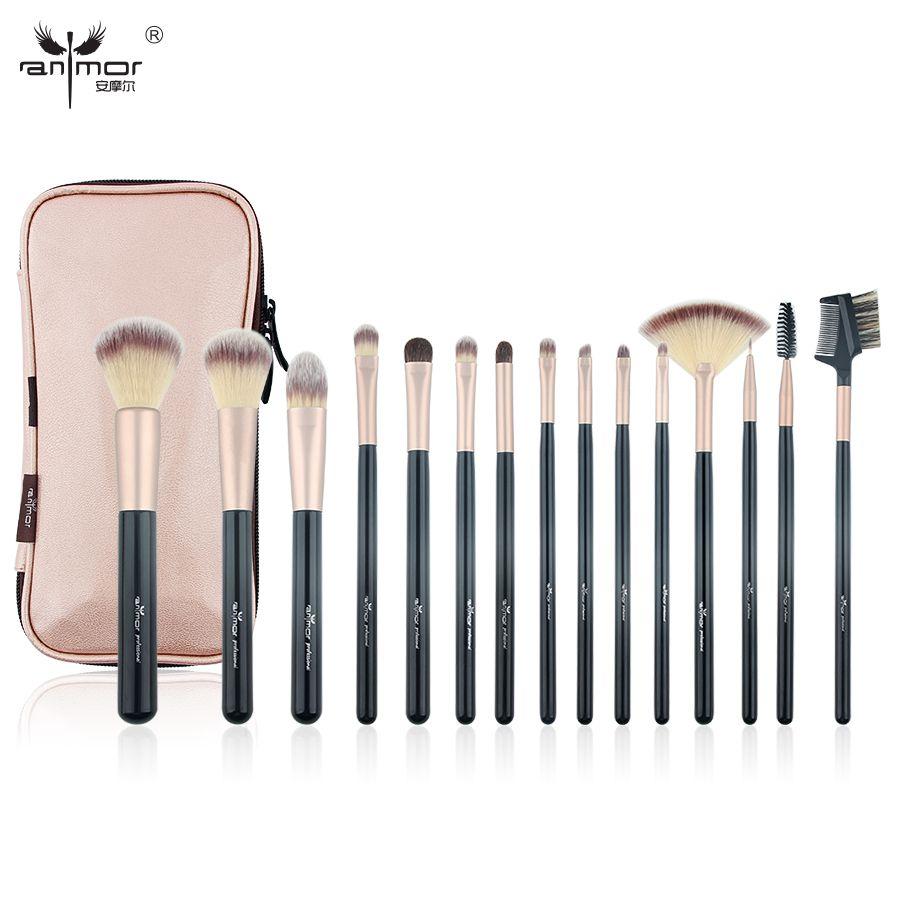 Ensemble de pinceaux de maquillage professionnel Anmor 15 pièces pinceau de maquillage synthétique haute qualité fond de teint sourcil fard à paupières sac cosmétique