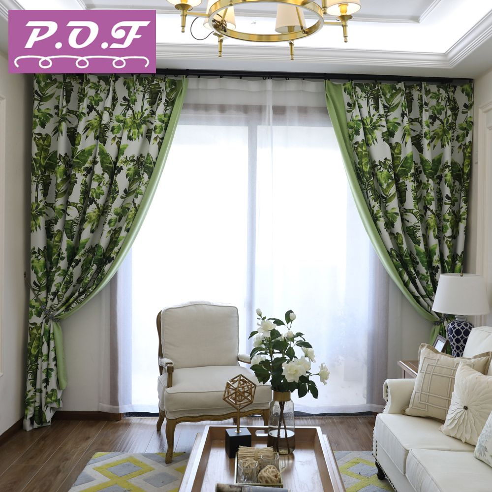 P.O.F Curtain for living room or bedroom high shading rate modern design european style printed curtain accept customization