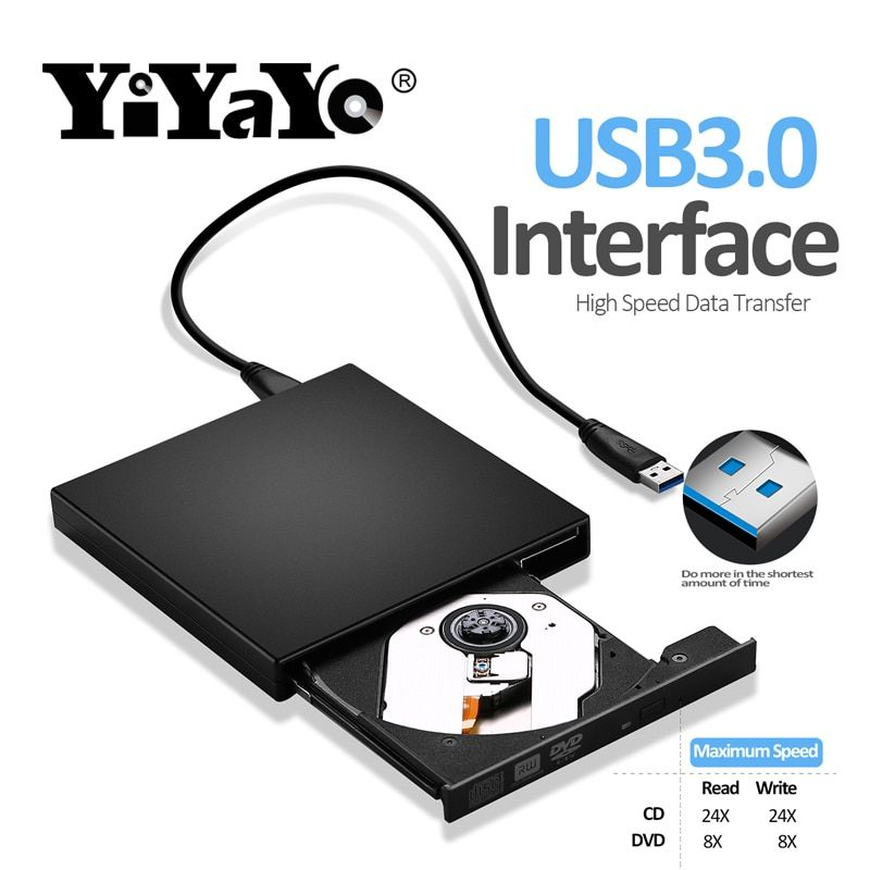 YiYaYo USB 3.0 Externe DVD RW Laufwerk CD/DVD-ROM Player CD/DVD-RW Brenner Reader Writer Recorder Portatil für Windows mobile PC