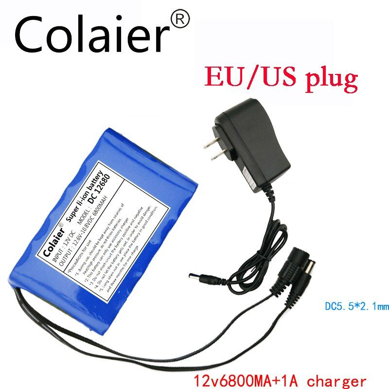Colaier new Portable Lithium Ion Battery, super capacitor dc 12 V 6800mAh in Video Surveillance, Computer Aided Manufacture