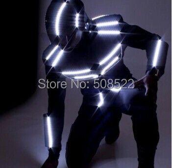 LED dance anzug/LED Roboter kostüm/LED Licht kostüm/LED glowing kleidung Größe/farbe angepasst