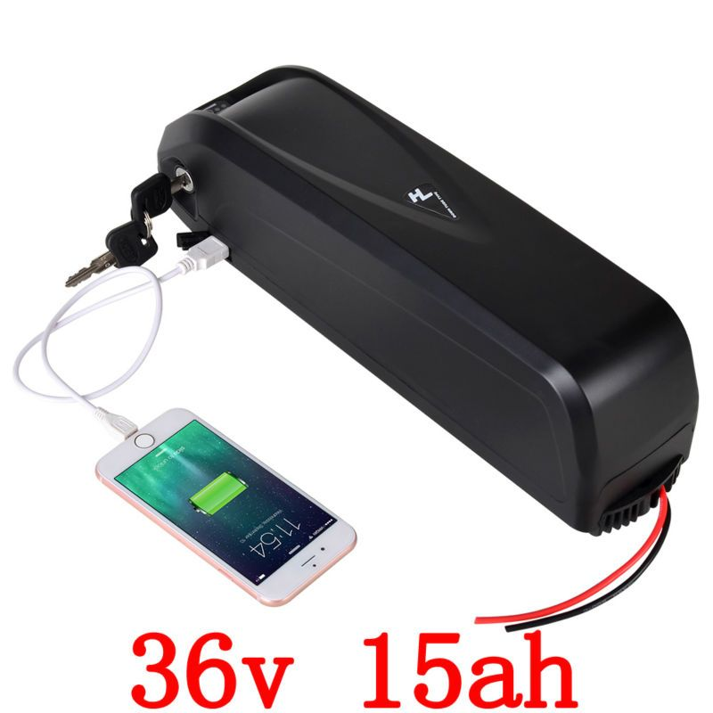 US EU No Tax 36V 15Ah 1000W Electric Bicycle Battery 36V With 5V USB 2A Charger Electric Bike Battery free shipping