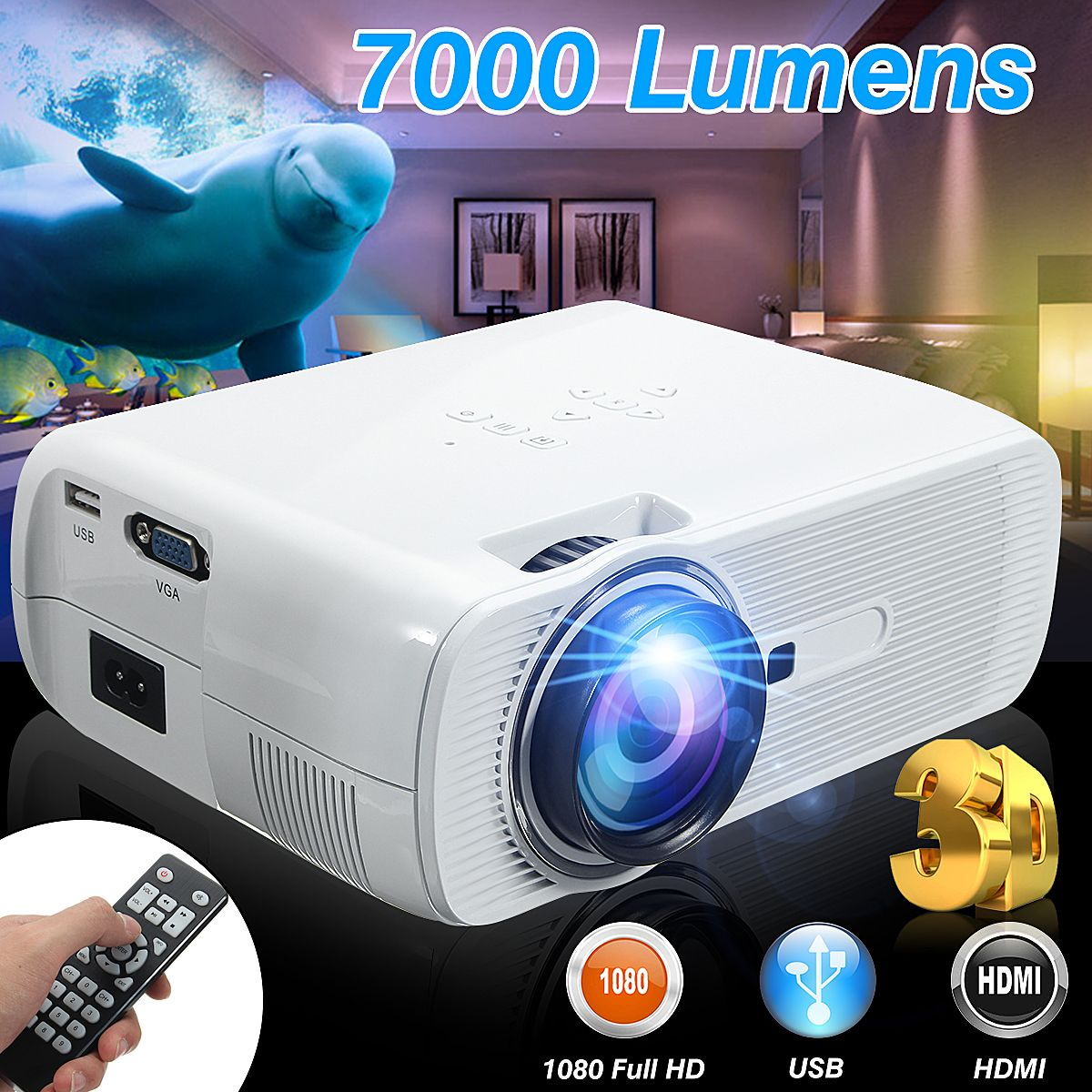 7000 Lumens HD LED Projector 3D Large Screen Home Theater Cinema LCD Wireless HDMI AV/VGA/USB/SD/HDMI/TV Multimedia Beamer