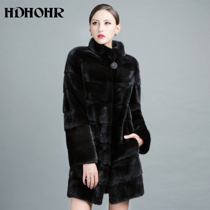 HDHOHR 2018 New Real Mink Fur Coat Women Natural Import Mink Coats Winter Warm Fashion Fur Coats Long Mink Fur Jackets