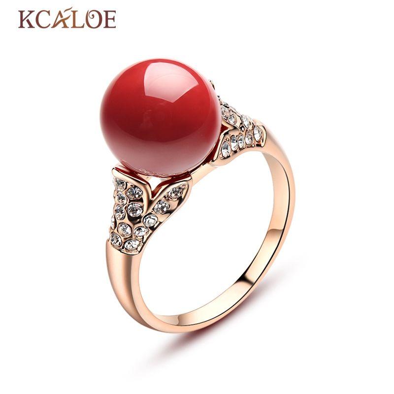 KCALOE rouge anneaux de corail artificiel cristal autrichien bijoux de fiançailles femmes couleur argent/or Rose boule ronde bague en pierre naturelle