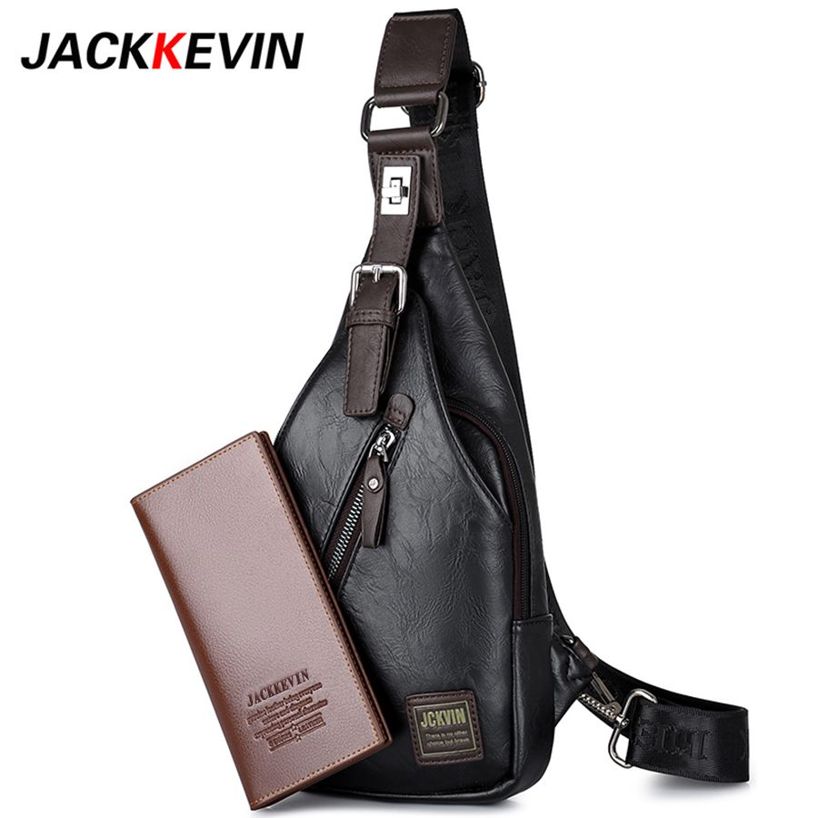 JACKKEVIN Brand Quality Assurance CHEST BAG MEN Anti-theft Magnetic Clasp Leather Bag Messenger Bag Fashion Men's Bags