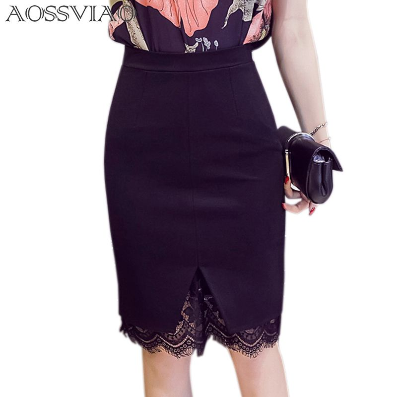 Sexy dentelle Patchwork extensible Slim bureau jupe Faldas Mujer femmes 5XL grande taille taille haute étape jupe crayon Saias 2019 jupes