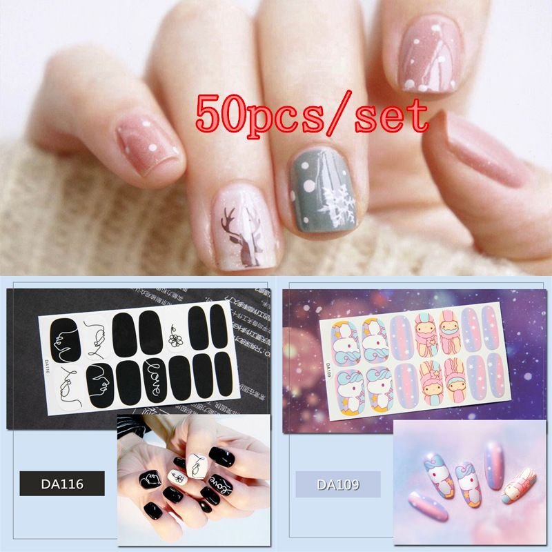 50pcs Full Covered Adhesive Nail Stickers 20 Designs Decal Tips Wraps DIY Nail Art Decorations Manicure Beauty Accessory