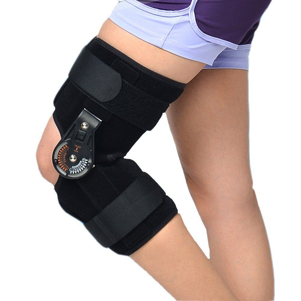 Adjustable Medical Hinged Knee Orthosis Brace Support Ligament Sport Injury Orthopedic Splint Osteoarthritis Knee Pain Pads OBER