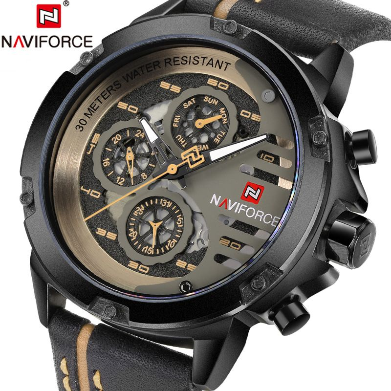 <font><b>NAVIFORCE</b></font> Men Watch Date Week Sport Mens Watches Top Brand Luxury Military Army Business Genuine Leather Quartz Male Clock 9110