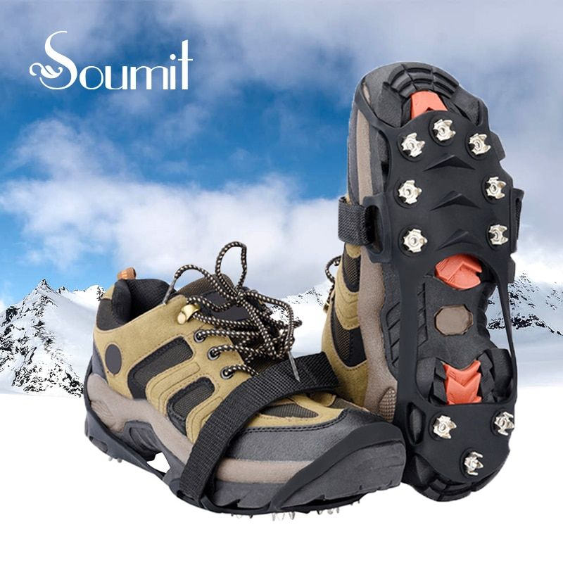 Soumit 10 Stud Manganese Steel Ice Gripper Spikes for Shoe Anti Slip Climbing Snow Crampons Cleats Chain Claws Grips Boots Cover