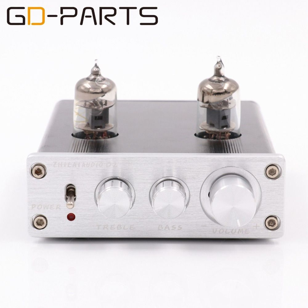 New Mini 6J1 Vacuum Tube Preamp Preamplifier Stereo Treble Bass Tube Buffer Control HIFI AUDIO Silver Black 1PC