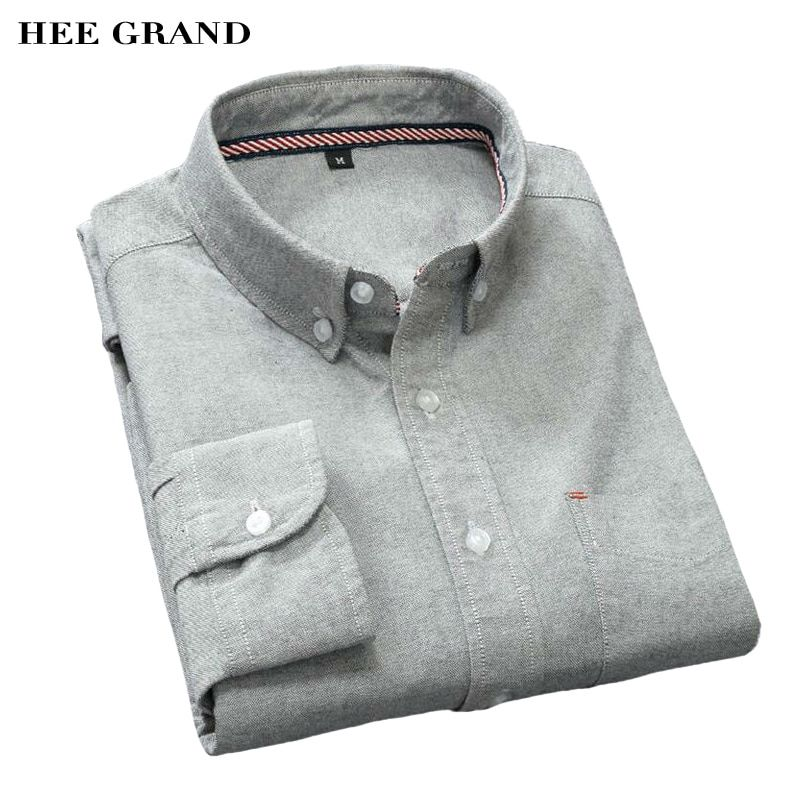 Hee grand herrenhemden casual langarm business dünne hemden baumwolle oxford einfarbig plus größe m-5xl mcl1431