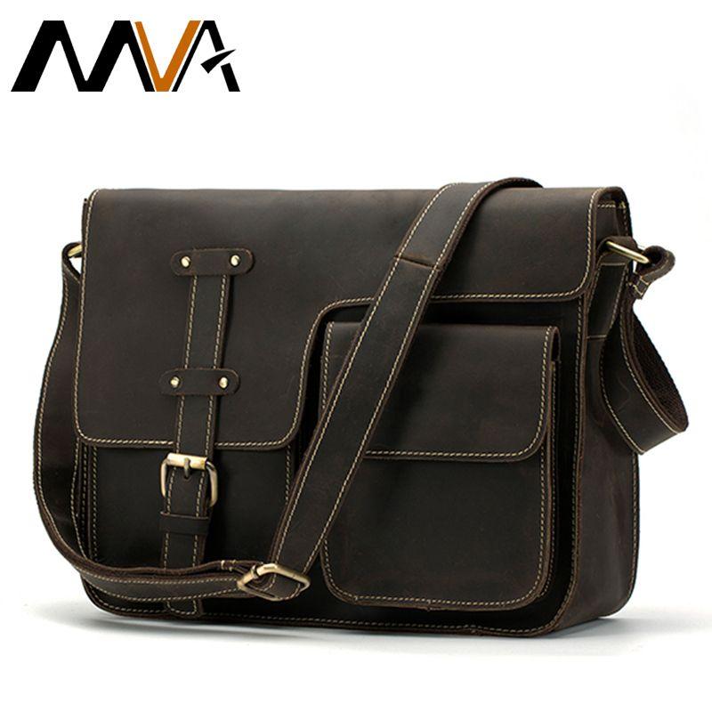 MVA Crazy Horse Genuine Leather Men's Bags Crossbody Bags Zipper vintage messenger bag men's shoulder bag genuine leather 1050