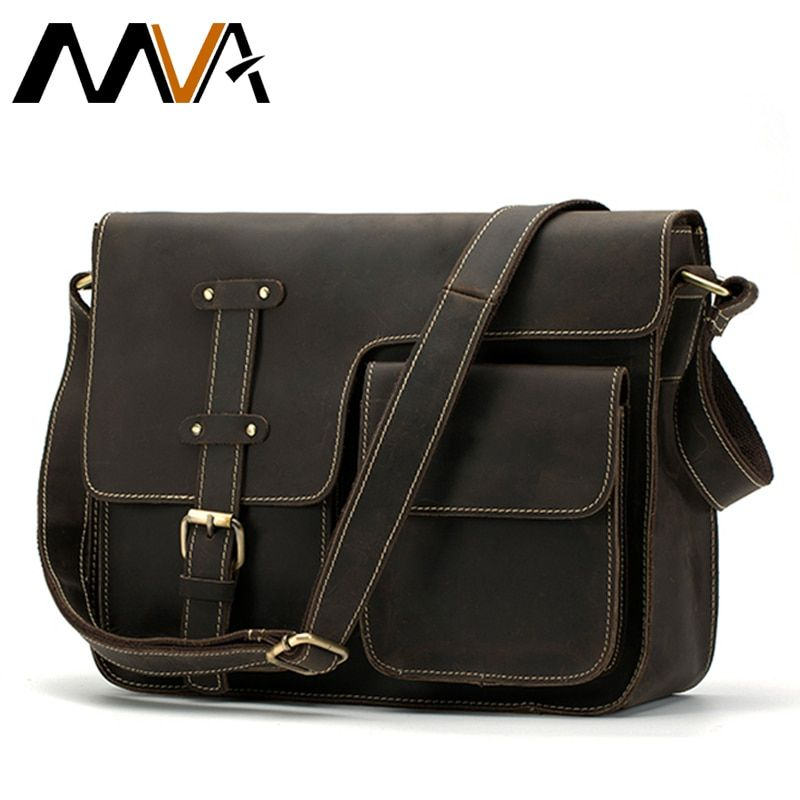 MVA Crazy Horse Genuine Leather Men's Bags Crossbody Bags Zipper vintage messenger bag men's shoulder bag genuine leather 1050