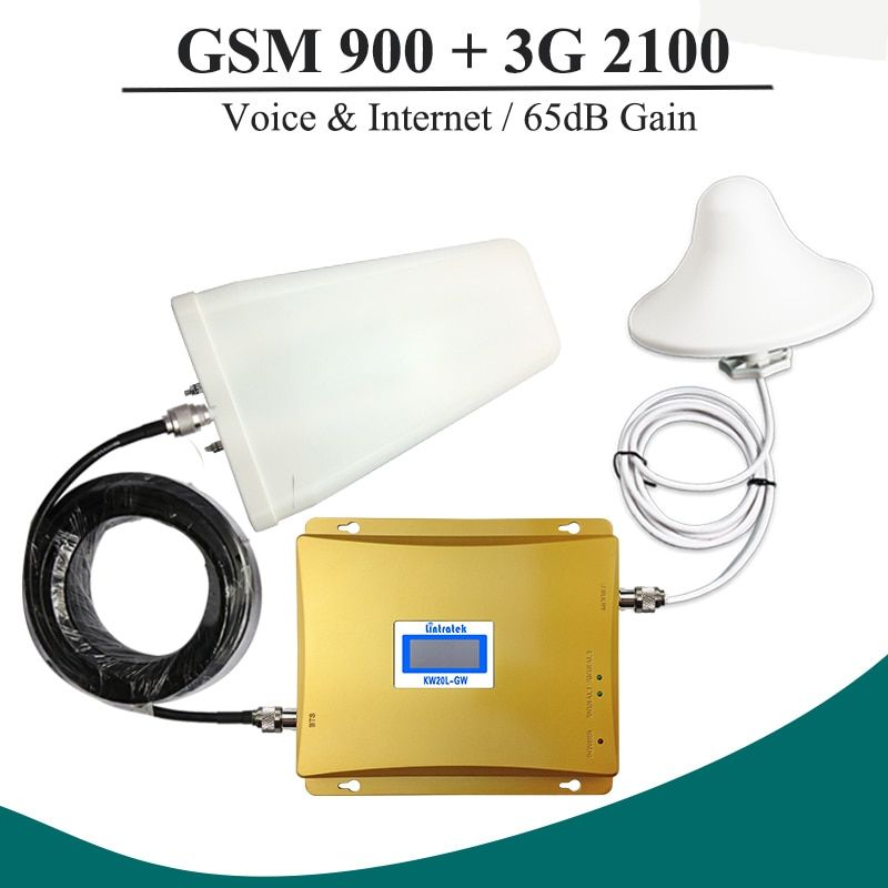LCD-Display GSM 900 Repeater 3G 2100 Handy Signal Booster GSM WCDMA Dual Band Repeater Kit GSM 3G UMTS Zellulären Verstärker