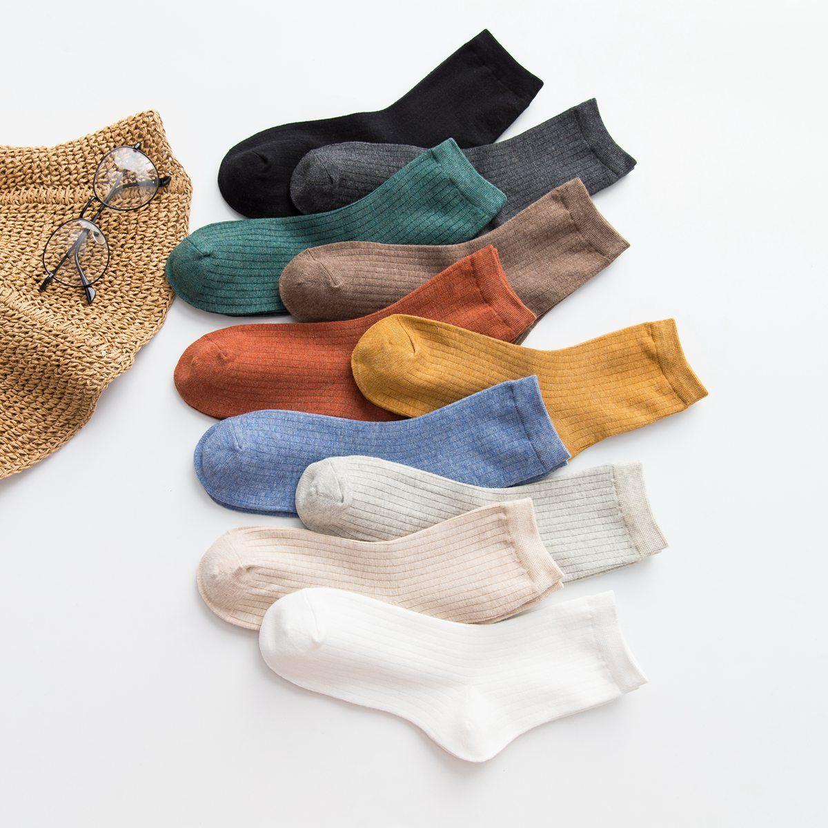 Cotton female tube socks pure color brand double-needle <font><b>Japanese</b></font> female socks cotton manufacturers socks wholesale a generation