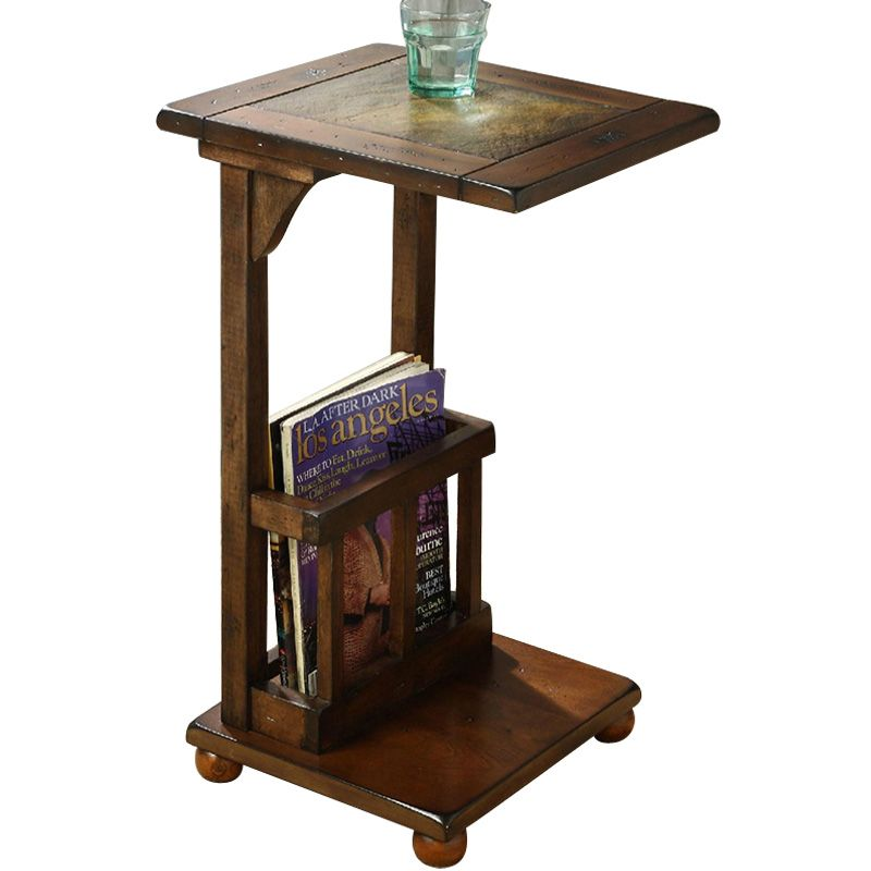 New wood sofa side table with Stone tea table telephone table square bedside table Magazine rack living room futniture