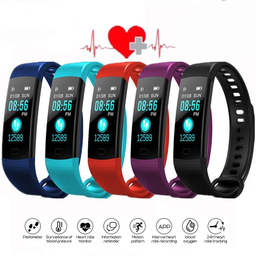 Bluetooth Bracelet À Puce Couleur Écran Y5 Bracelet Moniteur De Fréquence Cardiaque Mesure de La Pression Artérielle Fitness Tracker PK Mi C1S