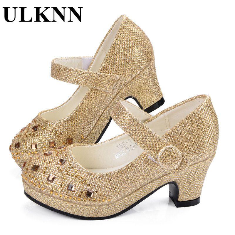 ULKNN Girl Shoes For Kids Vestido Piedras Partido Plataformas de Tacón Alto de Cuero Zapatos de Los Niños Niños Traje Suave Plantilla de Plata de Oro