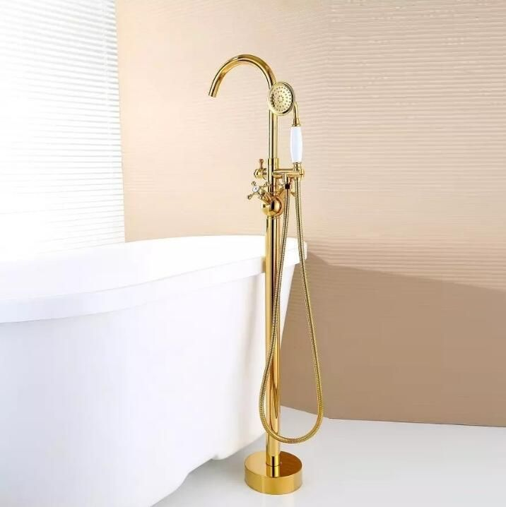 Modern Free standing Bathtub Faucet Tub Filler Fashion Gold Brass Floor Mount with Hand shower Bathtub Mixer Taps